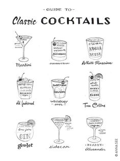 This hand drawn illustrated Guide to Classic Cocktails brings you back to the Mad Men era of vintage classic cocktails with all the ingredients to make these alcoholic drinks! Its a perfect gift for the mid-century modern 1950s, Mad Men era lover, but also makes for a timeless and unique housewarming gift! It makes for great wall decor in a dining area, bar, man cave, kitchen or any room in the house adding a bit of that retro, vintage flair!  I have hand drawn and hand lettered with pencil…