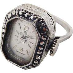 BG32 Bucherer Sterling Silver Marcasite Ladies Watch Ring 17 Jewels Swiss Vintage