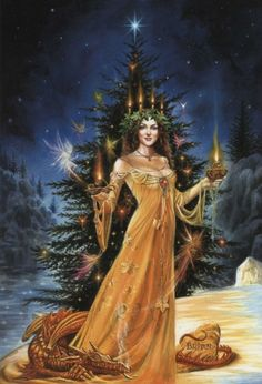 Lady of Lights Christmas Card - Yule/Winter Solstice - Cards by Occasion / Recipient - Home - Fairy and gothic cards, new age/pagan cards, f...