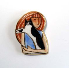 Cat Lady Porcelain Brooch/ Black & White Kitty by SusanFayePetProjects, $22.00 #cat #jewelry