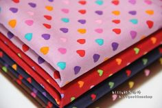 [ETSY - FREE SHIPPING NOW] K229 - Hearts- cotton fabric - Half Yard ( 5 color to choose)  https://www.etsy.com/listing/155969647/k229-hearts-cotton-fabric-half-yard-5?ref=shop_home_active