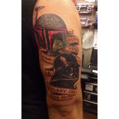 Sci-Fi Tattoos Bring Star Wars Fans Together star wars scene by shop graduate and artist Dolphin Becoming A Tattoo Artist, Tattoo Blog, Artist At Work, Tattoo Artists, Sci Fi, Star Wars, Bring It On, Stars, Tattoos