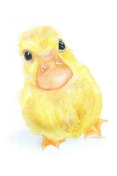 Duckling is a giclée print of my original watercolor painting. (The original has been sold.) Measures 4 x 6. (portrait/vertical orientation) Printed on 260 g/m2 fine art paper using archival pigment inks. This high quality cotton paper makes it hard to tell the original painting from