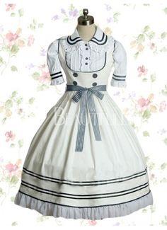 Sweet Turndown Collar Empire Knee-length Cotton Lolita Dress With Sash