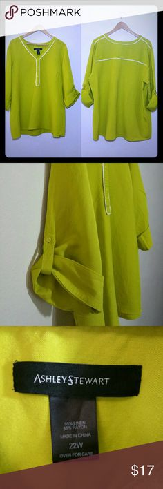 Ashley Stewart Green Linen Blend Tunic Lime green tunic with white piping detail. Bust 27 inches, length 28.5 inches, sleeve 15 in rolled up. Ashley Stewart Tops Tunics