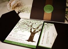 SAMPLE of Fall Oak Tree Wedding Invitation by vohandmade on Etsy