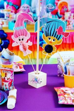 Check out this fun Trolls birthday party! The centerpiece is awesome! See more party ideas and share yours at CatchMyParty.com #catchmyparty #partyideas #trolls #trollsparty #girlbirthdayparty #centerpiece Trolls Birthday Party, Girls Birthday Party Themes, Troll Party, Girl Birthday, Birthday Parties, Party Centerpieces, Bridal Shower, Birthdays, Party Ideas