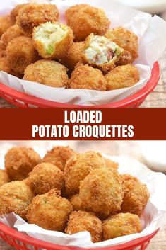 Loaded Potato Croquettes with fluffy potato centers crisp bacon green onions cheese and golden-crisp bread coating are a delicious party appetizer or any time of the day snack the whole crowd will love. Theyre the perfect use for your dinner leftovers! Appetizers For Party, Appetizer Recipes, Snack Recipes, Cooking Recipes, Potato Appetizers, Loaded Mashed Potatoes, Loaded Potato, Leftover Mashed Potatoes, Potato Croquettes