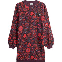 Kenzo Printed Cotton Sweatshirt Dress ($205) ❤ liked on Polyvore featuring dresses, florals, flower pattern dress, kenzo, slim fit dress, cotton dress and botanical dress