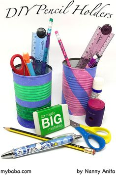 Make homework easier by having everything that you need for it in one place with this DIY pencil holder made from an up cycled tin can. Things To Do Inside, Fun Things, Writing Activities, Educational Activities, Pencil Holders, Activity Board, Tin Cans, Make Your Own, How To Make