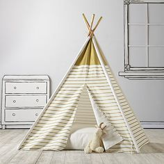 A Teepee & Cushion to Call Your Own Set (Gold Metallic) | The Land of Nod