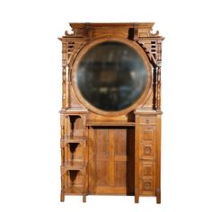 1880 Barber Shop Unit Culture: American Medium: oak, marble A good example of 19th century Americana. This American barber shop unit, circa 1880, has a large circular mirror, shelves and cupboards. It will indeed make a statement when place in most settings. Jefferson West antiques offer a selection of period furniture, mirrors, lighting, seating, smalls and accessories.