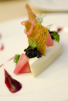 Ocean House's parsley root panna cotta with sturgeon caviar and accoutrements - February 28 (Photo by Geoff Mottram)