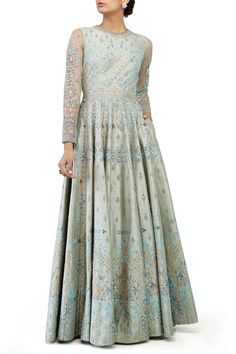 Intricately embroidered with shimmering gotta patti,  pearl, zardosi, sequin and dori work, the sage green Ela gown is a work of brillance!