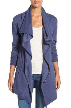 Caslon® Asymmetrical Drape Collar Terry Jacket (Regular & Petite) available…