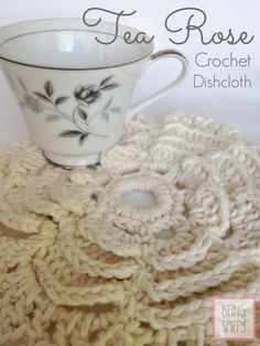 Wouldn't it be loverly? This Tea Rose Crochet Dishcloth pattern, that is. {BeingSpiffy}