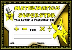 Mathematics Superstar Award: You can find this printable award (and many other awards and certificates for math teachers) on Unique Teaching Resources. Certificate Maker, Education Certificate, Award Certificates, Certificate Templates, School Certificate, Math Key Words, Kids Awards, Moral Stories For Kids, Star Students
