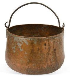 Antique Large Hand Forged Hammered Copper Cauldron Pot