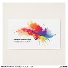 Shop Artist business card created by CHACKSTER. Personalize it with photos & text or purchase as is! Art Business Cards, Watercolor Business Cards, Makeup Artist Business Cards, Custom Business Cards, Watercolor Cards, Business Card Design, Creative Business, Watercolor Ideas, Watercolor Artists