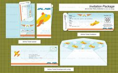 Printable Airplane Birthday Party Airline Ticket Invitation Package (Customized) from the Jet on Over Party Collection by skm designs. $24.00, via Etsy.