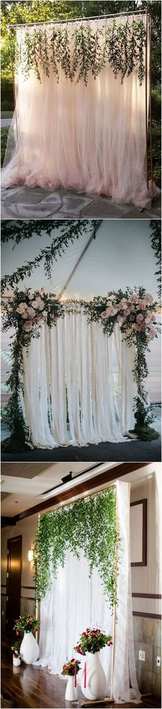 Elegant Outdoor Wedding Backdrop Ideas with Greenery Garland #weddingceremony