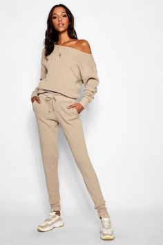 Womens Tall Slash Neck Knitted Lounge Set - beige - S/M Loungewear Outfits, Athleisure Outfits, Loungewear Set, Looks Chic, Looks Style, My Style, Mode Outfits, Casual Outfits, Fashion Outfits