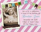 bunting ribbon trim on invitations.