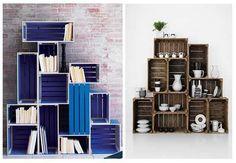 bibliotecas, racks, estanterias, cubos, cajones de frutas