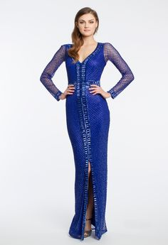 Illusion Sleeve Fully Beaded Dress #camillelavie #CLVprom