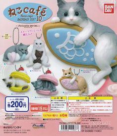 Anicolla Series Neco cafe 10 Ball chain Cat Figurine 6pcs set BANDAI Gashapon