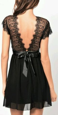 Pretty, lacy back on this little black dress