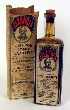 Laxakola, The Great Tonic Laxative. Vintage medicine, cure all Old Medicine Bottles, Antique Bottles, Vintage Bottles, Bottles And Jars, Vintage Labels, Vintage Ads, Vintage Perfume, Antique Glass, Perfume Bottles