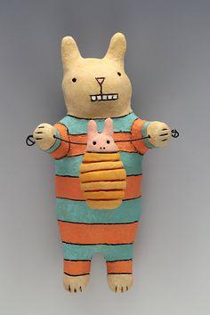 Bunny Baby Wally - Ceramic Wall Art Sculpture by saraswink on Etsy
