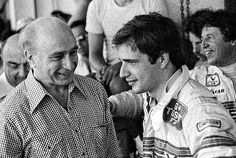22x18 (58x48cm) Framed Print featuring (L to R): Juan Manual Fangio (ARG) talks with Elio de Angelis (ITA) Lotus, who retired from the race on lap 8 with a broken suspension.Argentinean Grand Prix, Rd1, Buenos Aires, Argentina, 13 January 1980..