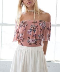 Look what I found on #zulily! Mauve Floral Off-Shoulder Ruffle Bodysuit #zulilyfinds