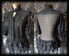 Gothic Black Sheer Frilled VICTORIAN GOVERNESS High Neck Blouse 10 12 Steampunk - £29.00