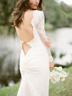 lace backless wedding dress by elie saab
