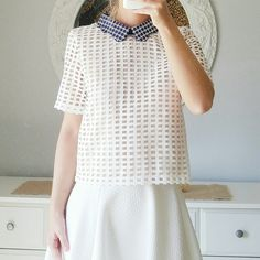 White & Navy Grid Short Sleeve Collard Boxy Top Zara like! White boxy, short sleeve woven top with contrast collar and back zipper closure. Has grid pattern.  - Self: 100% Polyester - Back zipper  True to size English Factory Tops Blouses