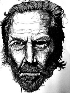 This is an Illustration portrait of Jeff Bridges, the technique I have used for this piece is continuous line using black fine-liners.