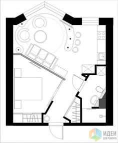 45 New Ideas For Apartment Floor Plan Micro One Room Apartment, Apartment Layout, Apartment Plans, Hotel Floor Plan, Small House Floor Plans, Tiny House Layout, House Layouts, Plan Chalet, Tiny Studio Apartments