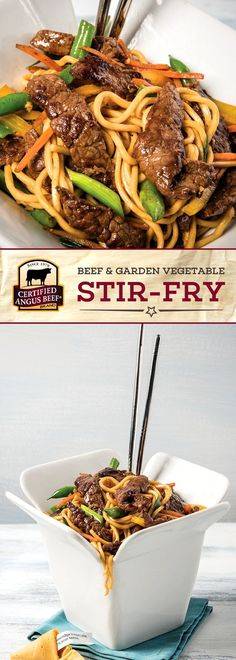Certified Angus Beef®️️️️️️️ brand Beef & Garden Vegetable Stir Fry is deliciously EASY to make! The best bottom round STEAK marinated with a tasty mix including plum sauce and ginger is cooked with fresh vegetables and chow mein noodles or rice for an amazingly FRESH meal. #bestangusbeef #certifiedangusbeef #beefrecipe #easyrecipes #pastarecipes