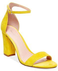 A vibrant pair of block heel sandals.
