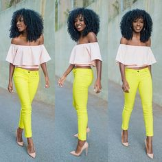 Swing Top x Neon Jeans. Love how bold this is. Neon Jeans, Yellow Jeans, Summer Outfits, Cute Outfits, Style Pantry, Love Her Style, Fashion Outfits, Womens Fashion, Fashion Tips