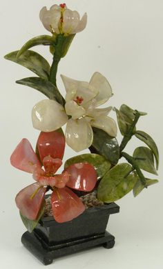 CHINESE HAND CARVED JADE TREE Chinese hand carved jade tree sculpture with jade stone pot. Has rose quartz, quartz and jade stones