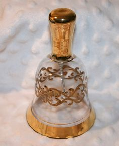 Vintage Austrian Crystal Bell Gold Applied
