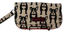 "for LARA: Bungalow 360 100% Natural Cotton Canvas Wristlet - ""Black Dog"""