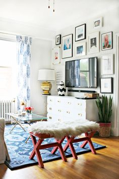 Love this colorful and fun gallery wall via Burlap and Lace!
