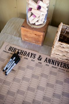 Wedding guestbook alternative--guests sign on calendar. Then you have a record of their birthday and anniversary, as well as knowing who was there. #winecountry rustic wedding Calendar on Etsy from STNstationery Photo By Robyn Navarro Photography @Robyn Navarro