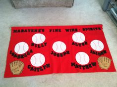 TBall baseball team banner- 1 yard of fleece, black foam letters from Joann's (they came in a large bag) hot glued on (low temp setting). I used a paper plate to trace the baseballs & drew the lines on with a red Sharpie using the paper plate as a tracer.