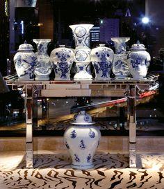 Bungalow 5 Furniture | Accessories | LEGEND WIDE NECK VASE, BLUE & WHITE